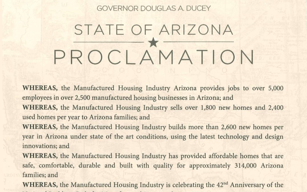 Governor Ducey Proclaims January Manufactured Housing Month