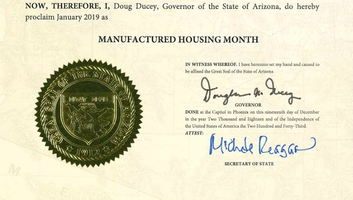 Governor Ducey Proclaims January 2019 Manufactured Housing Month