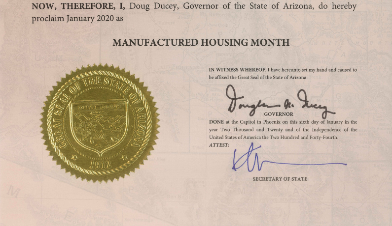 January 2020 Proclaimed Manufactured Housing Month by Governor Ducey